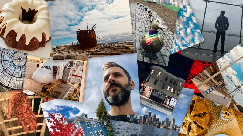 Collage of photos: lemon bundt cake, Baltimore station's glass ceiling, hand with henna, Airbus A380, shipwreck in Inis Oírr, Blue house and tree with red leaves, bearded man, Boston ducklings sculpture, cloudy sky, corner store in the night, ICA Boston glass wall, Imola train station, Boston skyline from the harbor, veggie pie