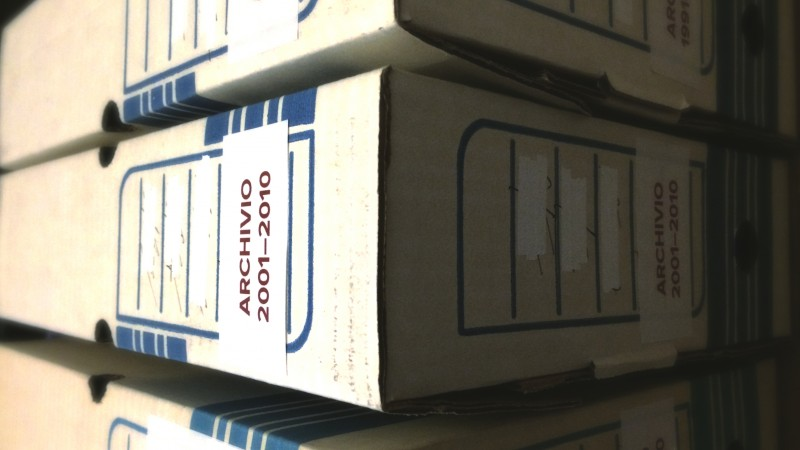 Artsy-fartsy picture of archive boxes